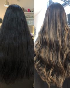 DARK HAIR TO BLONDE BALAYAGE BEACH HAIR SALON HOVE BRIGHTON