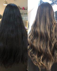 DARK HAIR TO BLONDE BALAYAGE BEACH HAIR SALON HOVE BRIGHTON